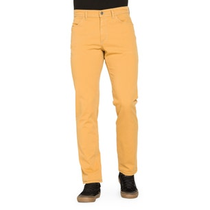 Yellow Stitched Button Zipper Trouser