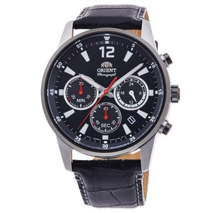 Black Dial Multifunction Leather Strap Watch
