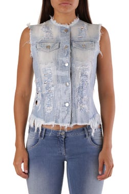 Repaired Sleeveless Button Top