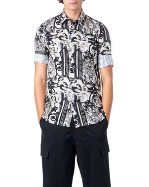 Black Floral Print Folded Sleeve Shirt