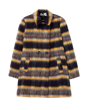 Checked Button Coat