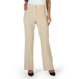 Brown Button Classic Flared Trousers