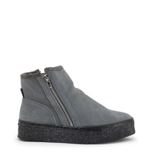 Grey Round Toe Glitter Zip Ankle Boots