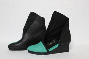 Open Calf Wedge Ankle Boots