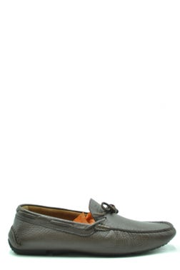 Grey Leather Lace Slip Ons Moccasins