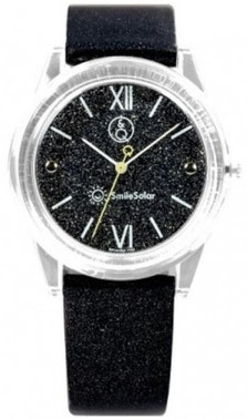 Black Silicone Glitter Dial Analog Watch