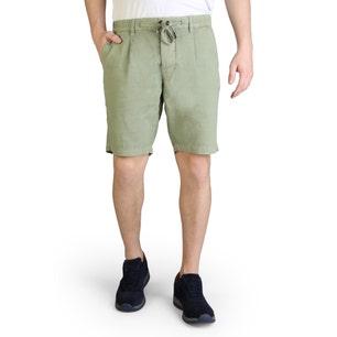Green Button Zipper Classic Plain Short