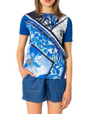 Blue Short Sleeve Graphic  T-shirt