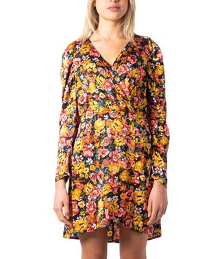 Yellow V-Neck Long Sleeve Floral Dress