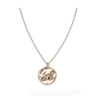 Gold Brass Plated Round Pendant Necklace