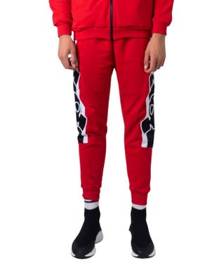 Red Elastic Waist Embroider Logo Trousers