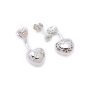 Heart Love Crystals Silver Earring