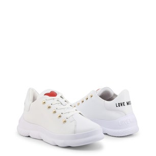 White Heart Leather Chunky Sneakers