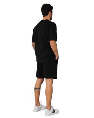 Crew Neck T-shirt Elastic Waist Short Set