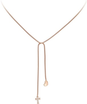 Rose Gold Heart Cross Necklace