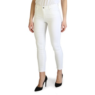 White Classic Button Crop Skinny Jeans