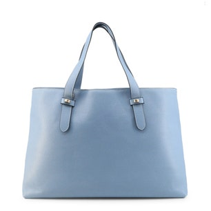 Leather Two Handle Zip Shopping Bag