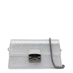 Silver Long Glossy Magnetic Clutch Bag