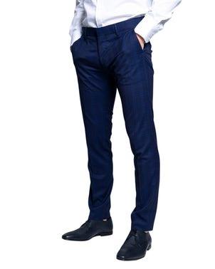 Checkered Button Zipper Trouser