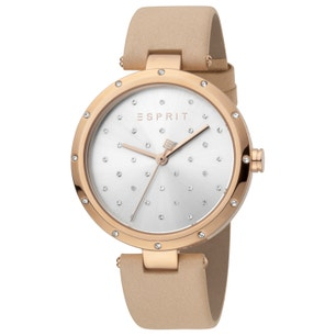 Leather Silver Dial Stone Analog Watch
