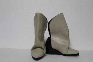 Mid Calf Cream Ankle Boots
