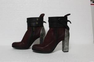 Burgundy Leather Zipper Ankle Boots