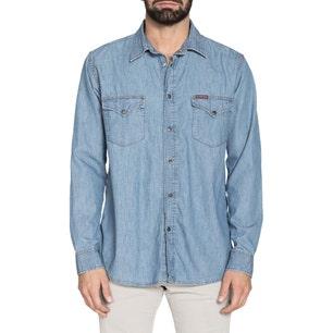 Long Sleeve Denim Button Pocket Shirt