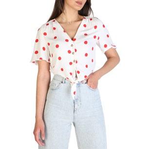 V-neck Button Polka Dots Shirt
