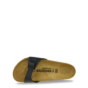 Black Leather Buckle Strap Flat Sandals