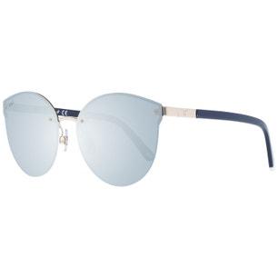 Blue Temple Rimless Round Sunglasses