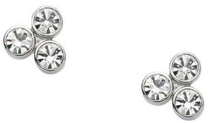 Stainless Steel Vintage Glitz Silver Tone Studs Crystals