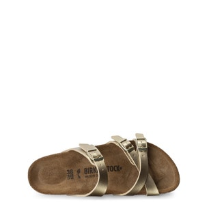 Gold Round Toe Buckle Flat Sandals