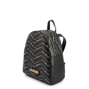 Black Printed Leather Zip Backpack