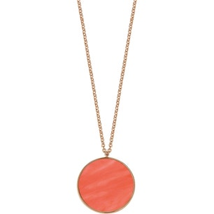 Golden Chain Round Red Pendant Necklace