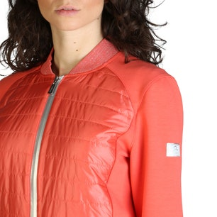Red Long Sleeve Quilted Zipper Jacket