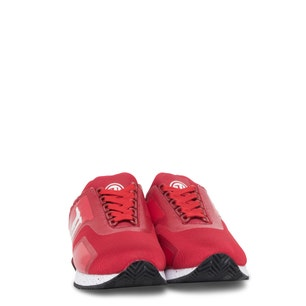 Red Round Toe Mesh Lace Up Sneakers