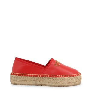 Red Round Toe Espadrille Slip On Shoes