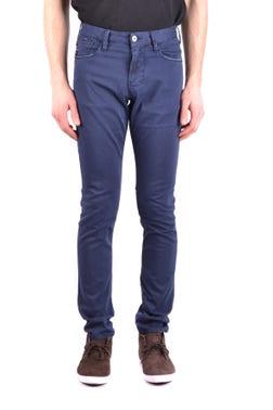 Casual Plain Blue Slim Fit Trouser