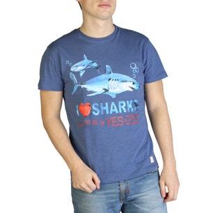 Blue Round Neck Sharks T-shirt