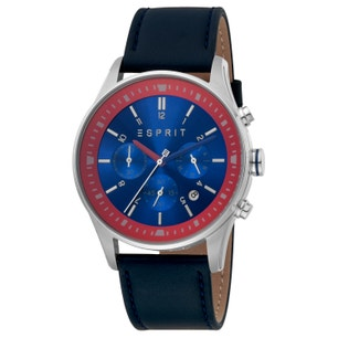 Leather Chronograph Blue Dial Watch