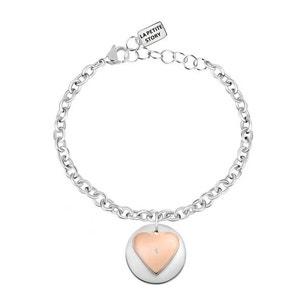 Silver Brass Steel Heart Charm Bracelet