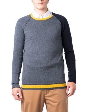 Two Tone Long Sleeve Crew Neck Knitwear