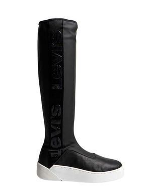 Round Toe Leather High Knee Boots