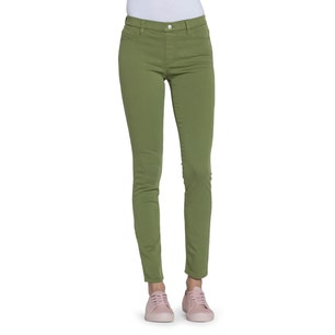 Green Button Elastic Skinny Fit Jeans