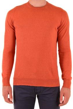 Orange Round Neck Plain Knitwear