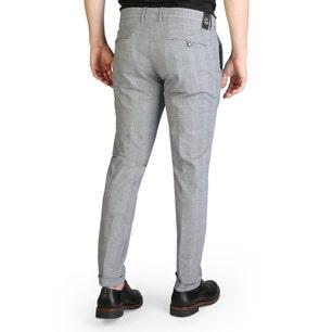 Button Zipper Checkered Trouser