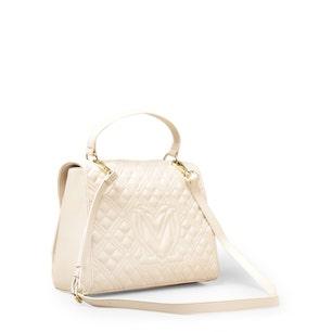 White Leather Zipper Handbag