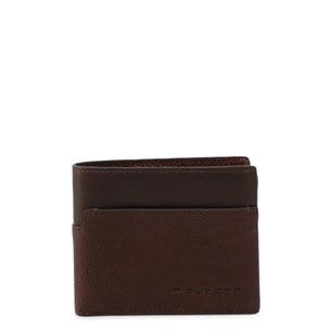 Brown Textured Leather Bi Fold Wallet