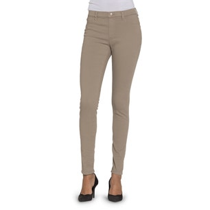 Brown Button Elastic Skinny Fit Jeans