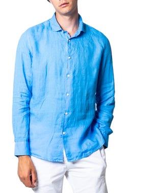 Blue Button Collar Long Sleeve Shirt